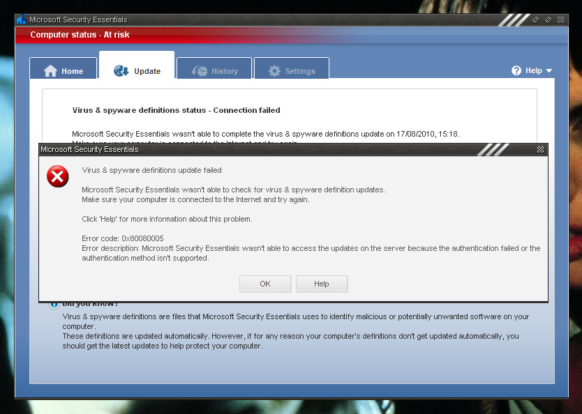 Click image for larger version  Name:MSE error issue.jpg Views:35 Size:163.1 KB ID:76851